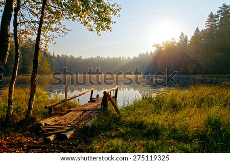 Reflection of trees, in water of magically beautiful lake in sun beams at sunrise. Woods of the Leningrad region. St. Petersburg. Nature of Russia. - stock photo