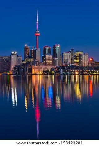 Reflection of Vibrant Toronto skyline - stock photo
