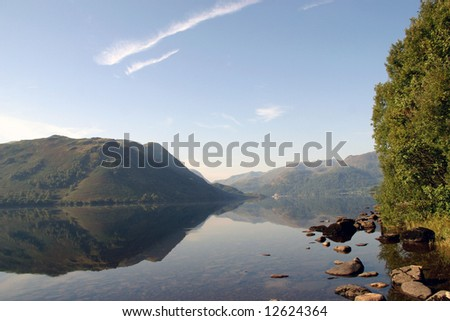 Reflection on Ullswater in the Lake District (Cumbria; England) - stock photo