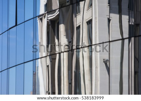 Reflection on window of a modern office building