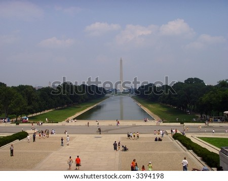 Reflection Pool - Washington  Monument, Washington... - stock photo