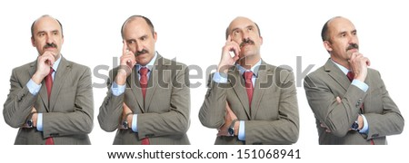 Reflection. The businessman on a white background. The collage - stock photo