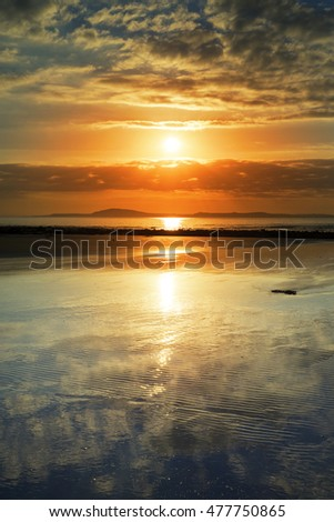 reflections at beal beach near ballybunion on the wild atlantic way ireland with a beautiful yellow sunset