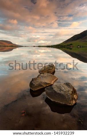 Reflections at Sunrise / South Iceland- Medalfellsvatn Lake - stock photo