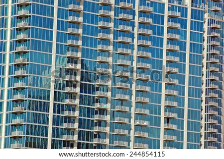 Reflections in a high rise condo in downtown Tampa, FL - stock photo