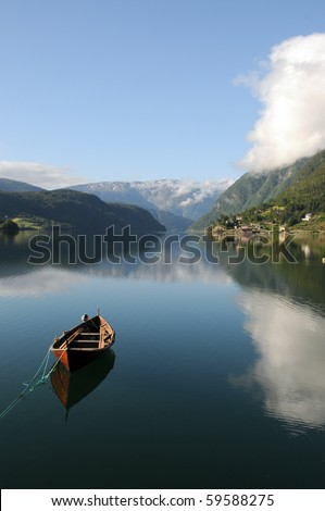 Reflections in Hardangerfjord at Ulvik, Norway