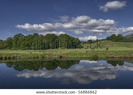 Reflections in the river Brathay at Elterwater, the English Lake District - stock photo