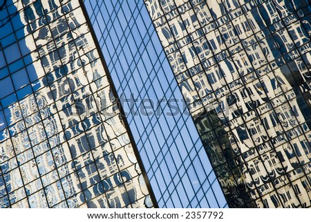 reflections of Bank of America Corporate Center, Charlotte, NC - stock photo