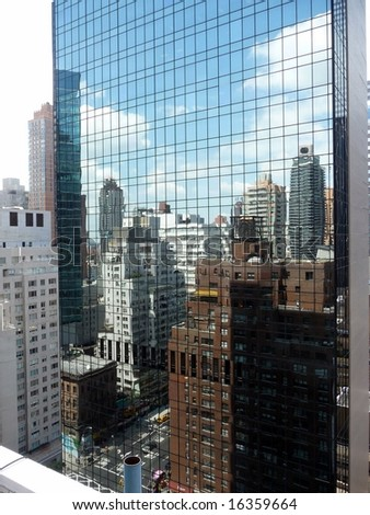 Reflections of Manhattan - stock photo