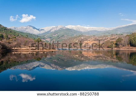 Reflections of mountains in Avila (Spain) - stock photo