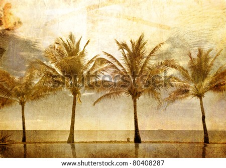 reflections of palms in the pool in grunge and retro style - stock photo