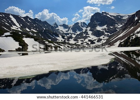 reflections of peaks in  lake isabelle in the indian peaks wilderness area, colorado - stock photo