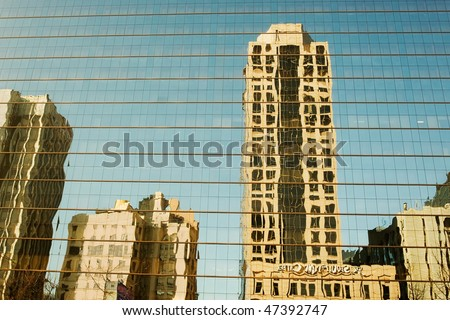 Reflections of the buildings in Seoul - stock photo