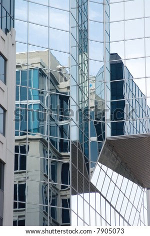 Reflections on a glass building