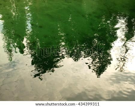 Reflections on a Mountain Lake Under a Cloudy Sky Priest Lake Idaho USA - stock photo