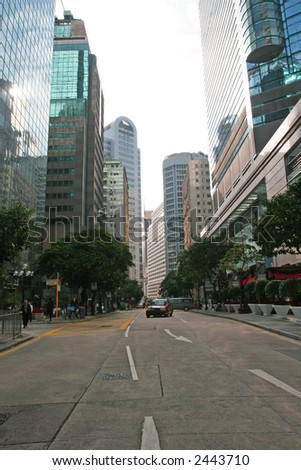 Reflections on office blocks in Hong Kong Business area.. - stock photo