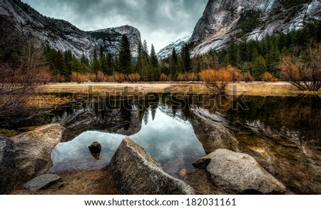 Reflections on the Lake, Mirror Lake in Yosemite National Park - stock photo