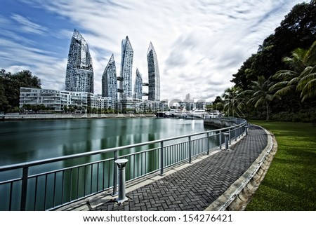 Reflections residential towers, Singapore - stock photo