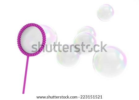 Reflective bubbles being blown from a children's bubble wand toy - stock photo