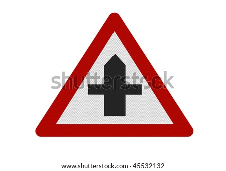 Reflective metallic road sign, warning of a crossroads ahead. Metaphor for a dilemma. Isolated on a pure white background - stock photo