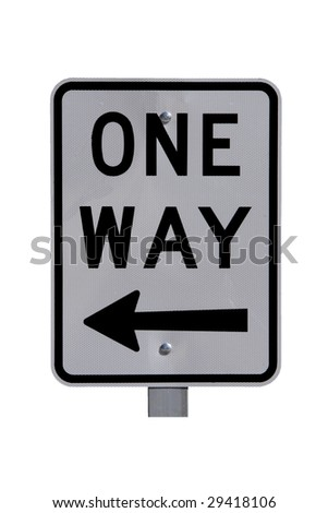 Reflective One Way Sign with Arrow - Current Australian Road Sign. Isolated on White.