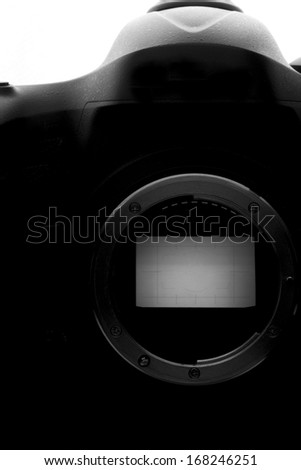 Reflex Camera isolated on white.. Professional DSLR silhouette. - stock photo