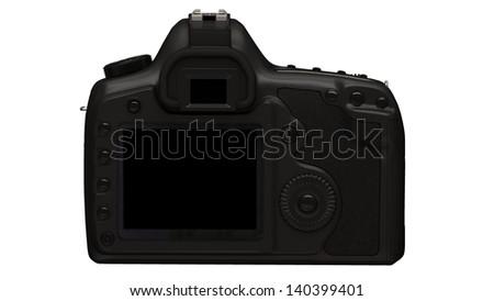 reflex digital camera on white background - stock photo