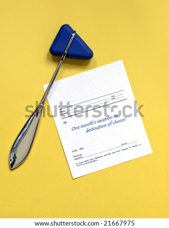 Reflex Hammer with Script for Vacation - stock photo