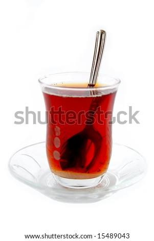Refraction on tea spoon - stock photo