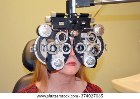 Refractive Eye Exam  - stock photo