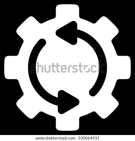 Refresh Engine raster icon. Style is flat symbol, white color, rounded angles, black background. - stock photo
