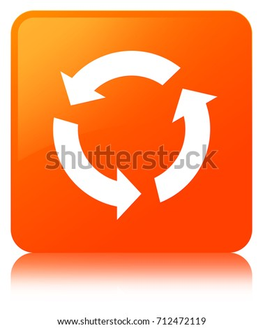 Refresh icon isolated on orange square button reflected abstract illustration