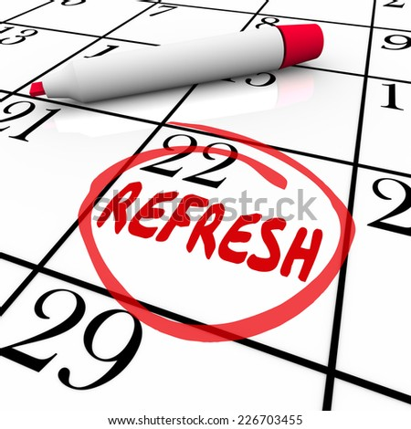 Refresh word circled on a calendar day or date to illustrate a reminder to relaunch, restart or revise a product or service - stock photo