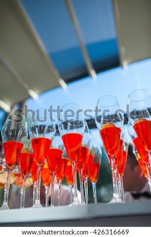 Refreshing aperitif Aperol spritz - stock photo
