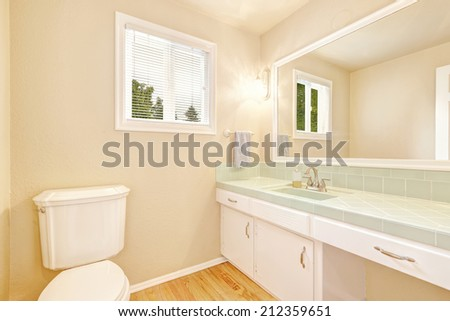 Refreshing bathroom interior in soft ivory color. Cabinet with mint counter top and mirror