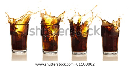 refreshing beverage splash collection on a white background - stock photo