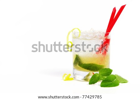 Refreshing caipirinha cocktail - stock photo