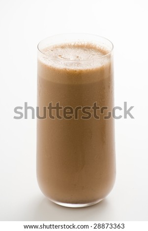 refreshing chocolate shake with chocolate Birutes isolated - stock photo