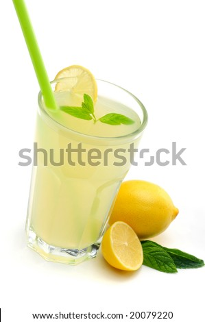 Refreshing cold lemon Cocktail against a white background - stock photo