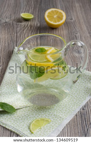 Refreshing cold lemonade with mint, lime and lemon - stock photo
