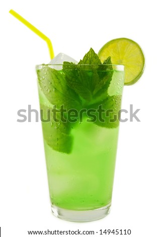 Refreshing cold Mint Julep Cocktail against a white background. - stock photo