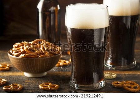 Refreshing Dark Stout Beer Ready to Drink - stock photo