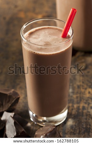 Refreshing Delicious Chocolate Milk with Real Cocoa - stock photo