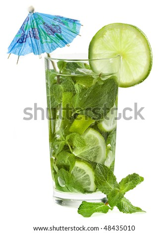 refreshing drink with fresh lime and mint leaves - stock photo