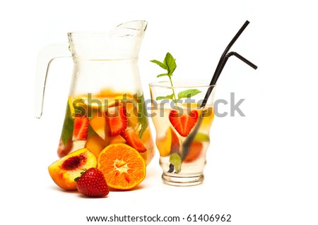 refreshing fruit cocktail isolated on white - stock photo