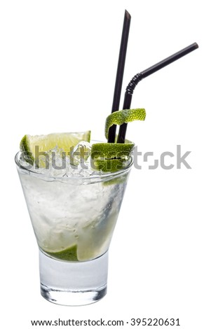 "Refreshing fruity alcoholic cocktail ""Drunk Finn with lime"": Tequila, Amaretto liqueur, Carolans, Coffee liqueur, Cream.  - stock photo"