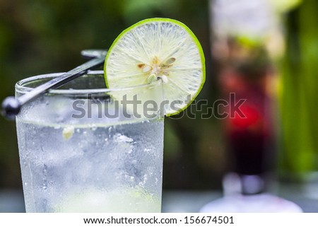 refreshing gin tonic on the wooden table - stock photo