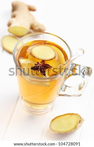 Refreshing Ginger ale lemonade with anise - stock photo