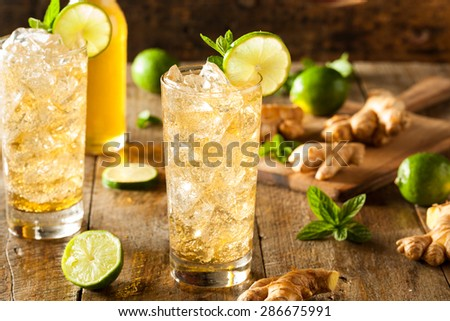 Refreshing Golden Ginger Beer with Lime and Mint - stock photo