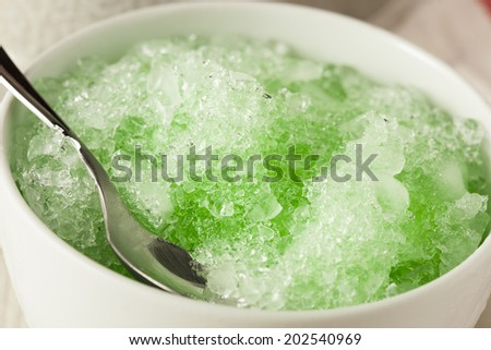 Refreshing Homemade Shaved Ice in a Bowl - stock photo